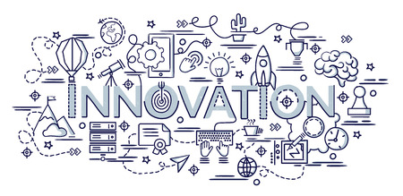Flat colorful design concept for Innovation. Infographic idea of making creative products. Template for website banner, flyer and poster. Hand drawn doodle cartoon vector illustration.