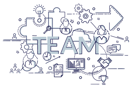 Flat colorful design concept of Team. Idea of making creative products.  Infographic for website banner, flyer and print.