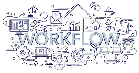 Flat colorful design concept for Workflow. Infographic idea of making creative products. Template for website banner, flyer and poster.