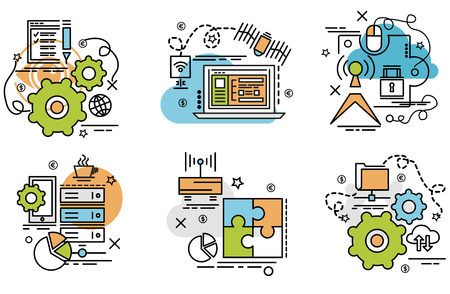 Set of outline icons of Big data.