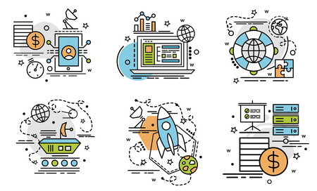 Colorful icons for website, mobile, app design and print.