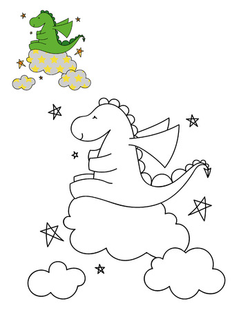 Coloring page outline of cartoon cute dinosaur on a cloud. Hand drawn vector illustration. Coloring book for kids. Isolated.