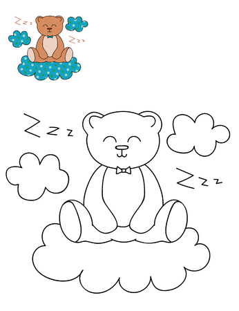 Coloring page outline of cartoon cute bear on a cloud. Hand drawn vector illustration. Coloring book for kids. Isolated.