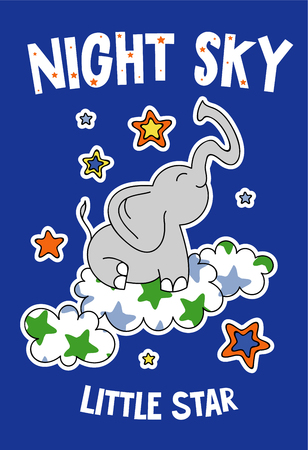 Cute elephant on a cloud cartoon hand drawn vector illustration. Can be used for t-shirt print, kids wear fashion design, childrens pyjamas, baby shower, invitation card, poster. Little star.