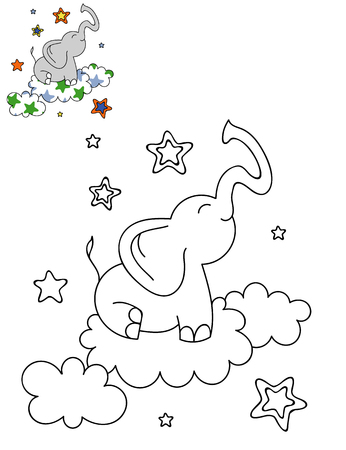 Coloring page outline of cartoon cute elephant on a cloud. Hand drawn vector illustration. Coloring book for kids. Isolated. Stock Illustratie