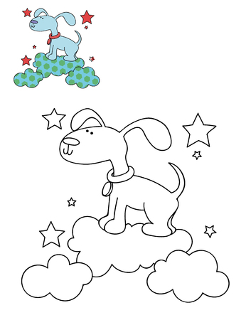 Coloring page outline of cartoon cute dog on a cloud. Hand drawn vector illustration. Coloring book for kids. Isolated.