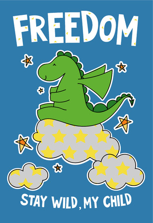 Cute dinosaur on a cloud cartoon hand drawn vector illustration. Can be used for t-shirt print, kids wear fashion design, childrens pyjamas, baby shower, invitation card, poster. Stay wild, my child. Stock Illustratie