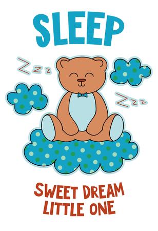 Netter Bär auf einer gezeichneten Vektorillustration der Wolkenkarikatur Hand. Kann für T-Shirt-Druck verwendet werden, Kinder tragen Modedesign, Kinderpyjamas, Babyparty, Einladungskarte, Poster. Süßer Traum kleiner. Isoliert. Vektorgrafik