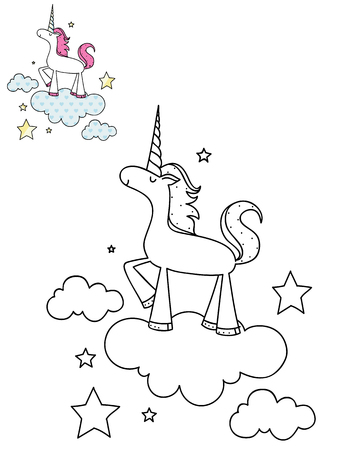 Coloring page outline of cartoon cute unicorn on a cloud. Hand drawn vector illustration. Coloring book for kids. Isolated.