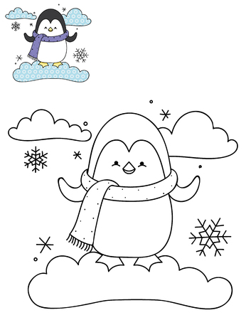 Coloring page outline of cartoon cute penguin on a cloud. Hand drawn vector illustration. Coloring book for kids. Isolated.