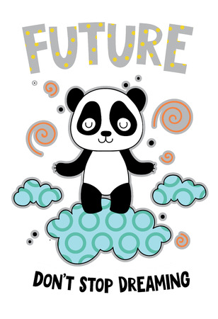 Cute panda on a cloud cartoon hand drawn vector illustration. Can be used for t-shirt print, kids wear fashion design, childrens pyjamas, baby shower, invitation card, poster. Don't stop dreaming. Stockfoto - 115461183