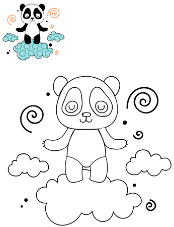 Coloring page outline of cartoon cute panda on a cloud. Hand drawn vector illustration. Coloring book for kids. Isolated. Illusztráció