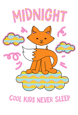 Cute fox on a cloud cartoon hand drawn vector illustration. Can be used for t-shirt print, kids wear fashion design, childrens pyjamas, baby shower, invitation card, poster. Cool kids never sleep.