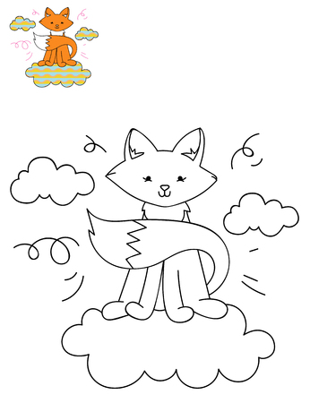 Coloring page outline of cartoon cute fox on a cloud. Hand drawn vector illustration. Coloring book for kids. Isolated.