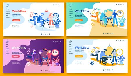 Template for landing page, website or banner on the topic Workflow. Digital flyer, also can be print advertising. Vector illustration.
