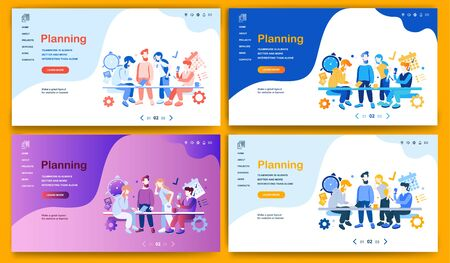 Template for landing page, website, presentation or banner on the topic Planning. Digital flyer, also can be print advertising. Vector illustration. Illusztráció