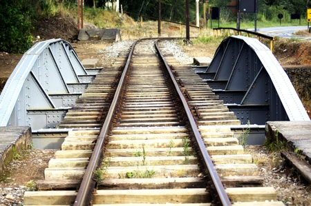 Path railroad building totally iron in the Piracuma City Standard-Bild