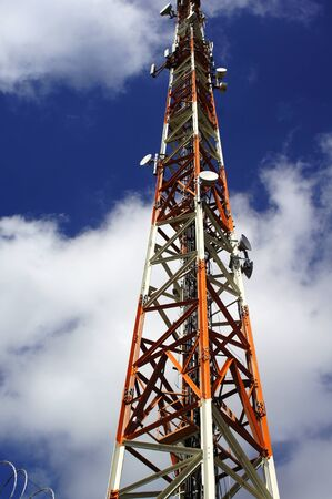 Cellular  tower to transmisstion of signal telephone mobile Stock Photo