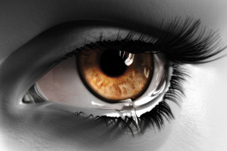 young eyes: Close up on the eyes of a young woman crying