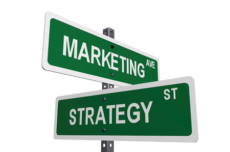 A sign post with directions to marketing and strategy