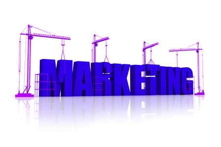 Marketing concept being built with blocks isolated on white background