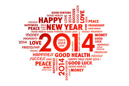 Arrival of a new year 2014  Stock Photo