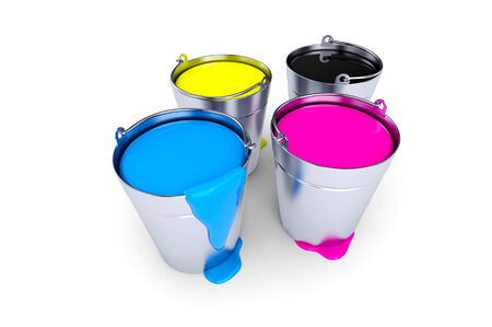 Colorful inks in paint cans isolated on white Standard-Bild