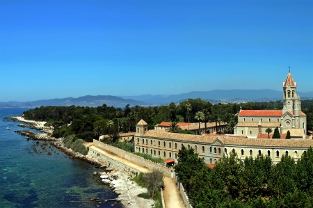 Beautiful scenery of the castle on an island Sanni Filha in France