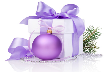 white gift box with a colored ball Standard-Bild