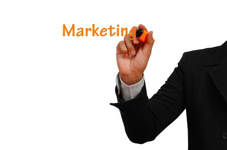 Marketing concept with interface  on white background Standard-Bild