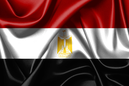 Closeup of the flag of Egypt Standard-Bild
