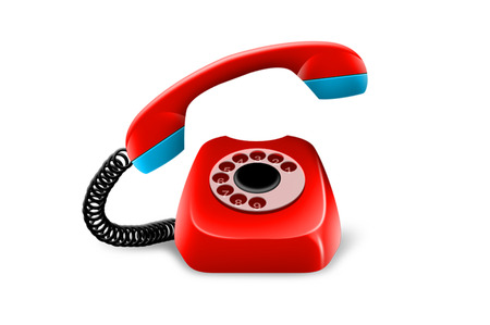 Red telephone with numbers isolated over white background Standard-Bild