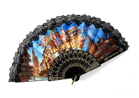 Spanish fan isolated on white Stock Photo