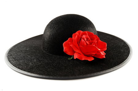 Black female hat with a red rose