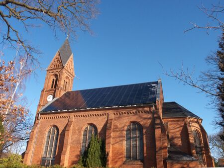 church with solar roof Standard-Bild