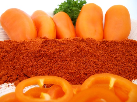 chili powder, orange peppers with smoked paprika and slices,