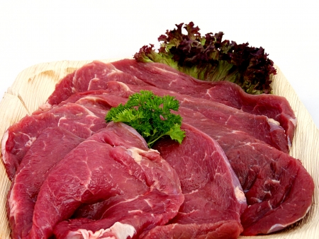 raw beef for frying or as a steak