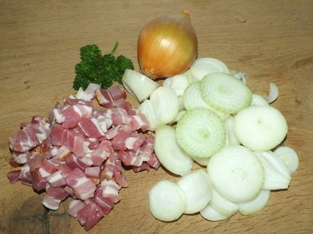 chopped onions and bacon photo