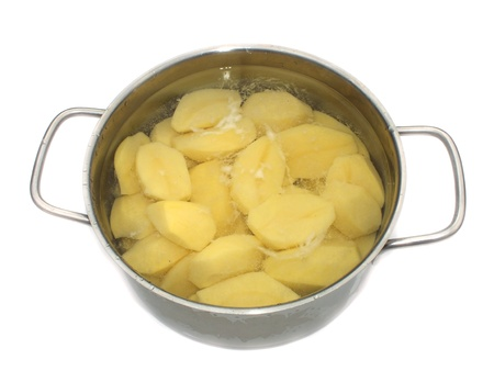 raw peeled boiled potatoes