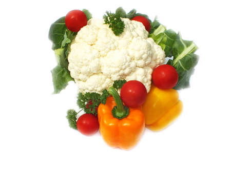 pepper,cauliflower, tomato, parsley, white background Stock Photo - 14526838