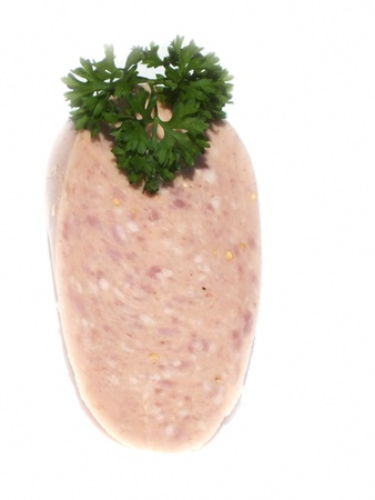 jagdwurst,a German sausage specialty against a white background Standard-Bild