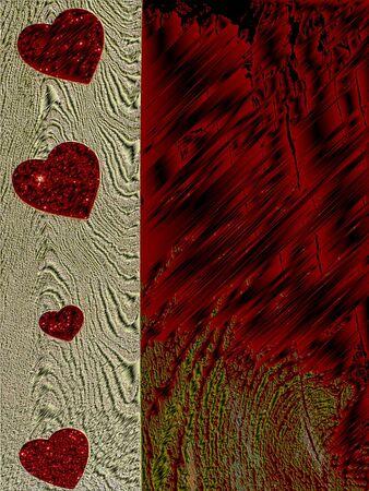 rood hart en hout Stockfoto