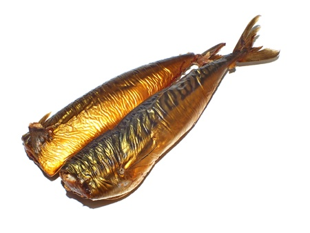 two smoked mackerel on a white background Stock Photo - 17814425