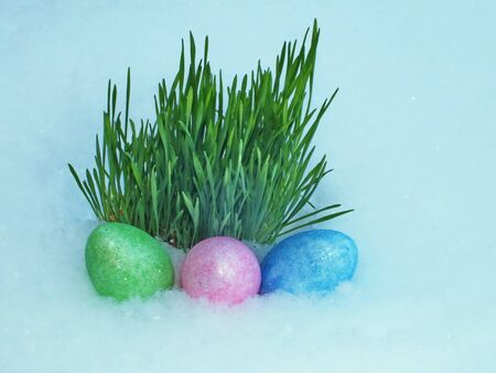 Colorful Easter eggs decorated photo