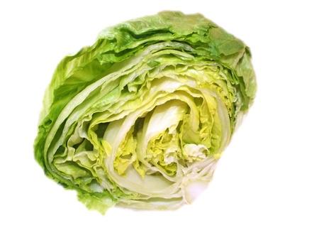 Studio shot of a whole iceberg lettuce on white background