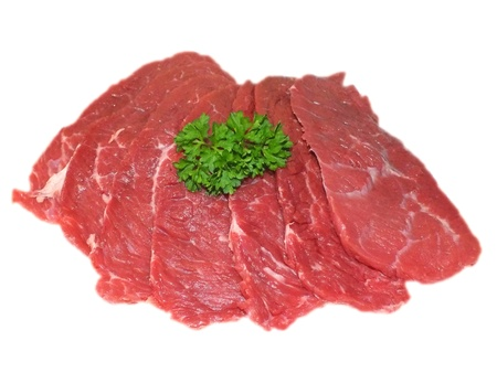 raw beef tenderloin on a white background photo