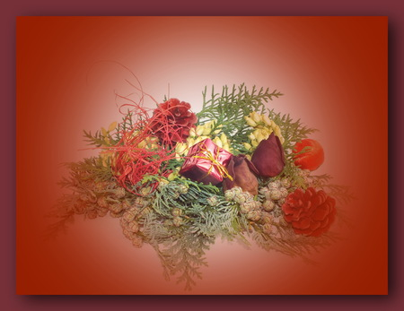 background with Christmas decoration from natural materials photo