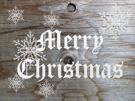 Christmas Card with Message Merry Christmas on the letter photo