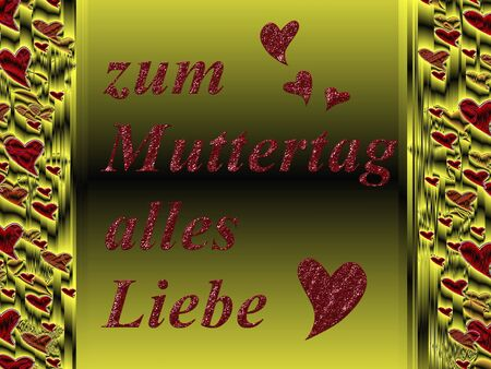 all love: in German letters, all love for mothers day