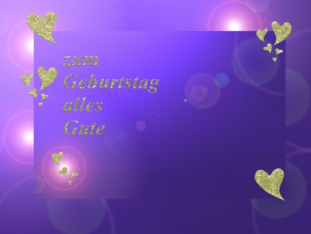 embers: written in German letters happy birthday card